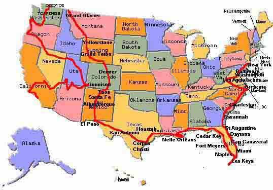 Itinéraire au USA Est et Centre Ouest